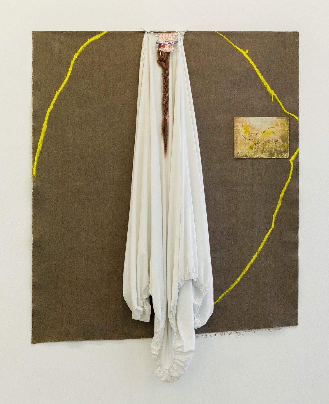 Veil, 2017 | Bedsheet, oil, tapestry and braids on canvas | 198 x 149 x 20 cm