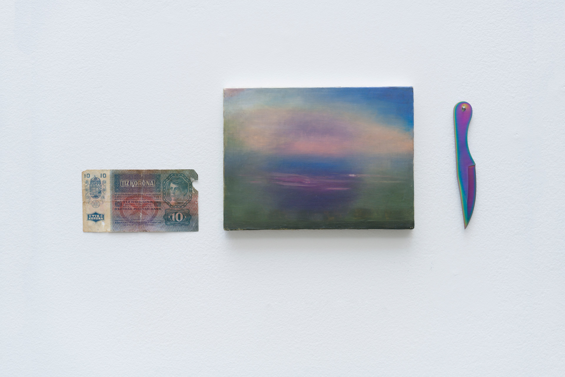 Horizon, 2014   Austro-Hungarian banknote, oil on canvas and knife   18 x 47 cm