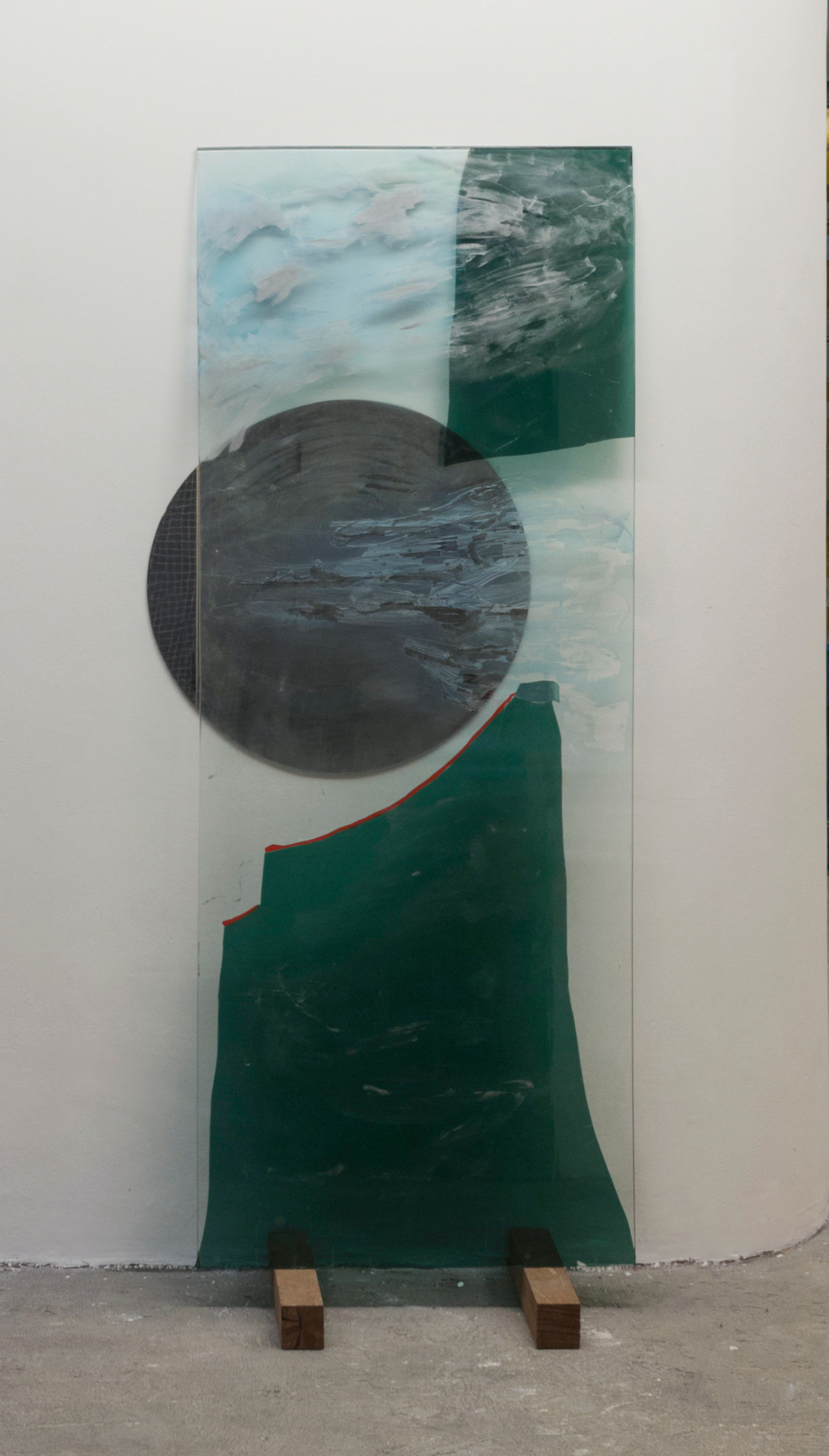 Peak, 2018 | Glass, Enamel and insulfilm on glass and mirror | 208 x 90 cm