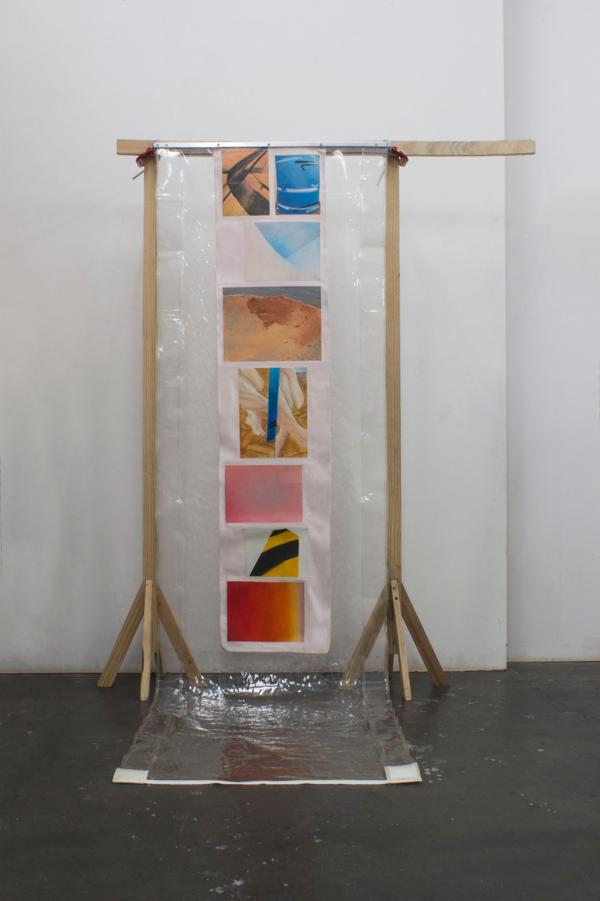 Waterfall, 2014 | Wooden tripods, plastic awning, sergeants, rope and oil painted images on canvas | 170 x 100 x 70 cm