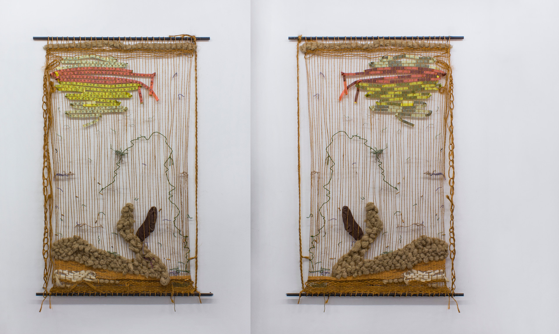 The Wait, 2018 | Sisal, wool, copper, hair and tape measure braided in metal bars | 213 x 210 cm