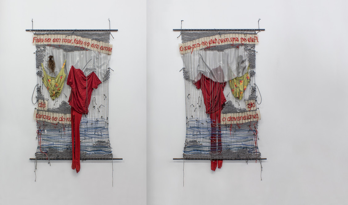 Woolgathering, 2018   Various strings, wool, pieces of clothing, hair and embroidery in plaited braided in metal bars   250 x 130 cm