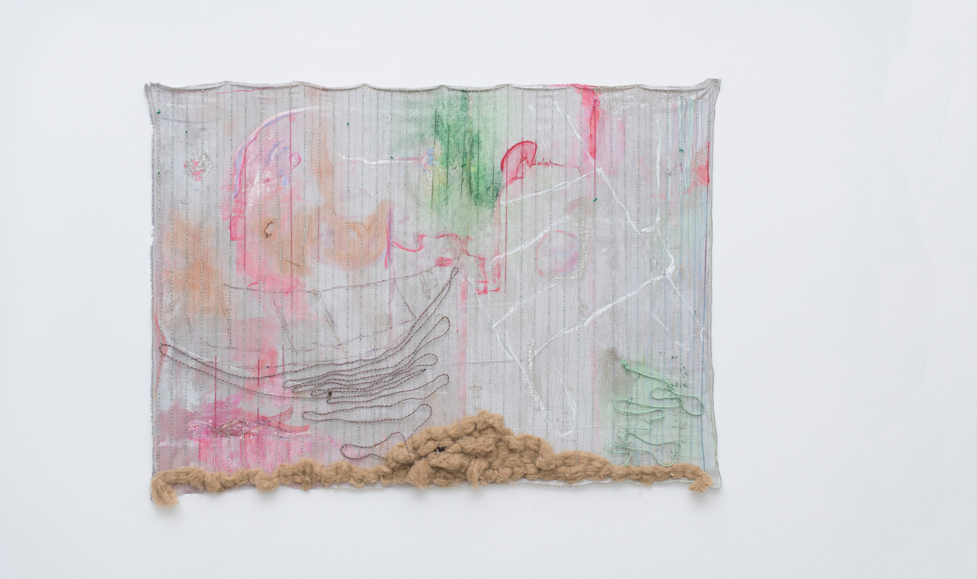Autazes, 2017 | Oil, ropes, copper wire, coconut fiber, glass beads and mica on linen | 117 x 159 x 8 cm