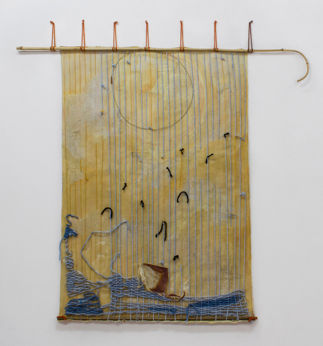 Wreck, Spume and Delirium, 2017 |  Acrylic, pastel, wool, latex, bamboo and brass on cotton | 127 X 111 cm