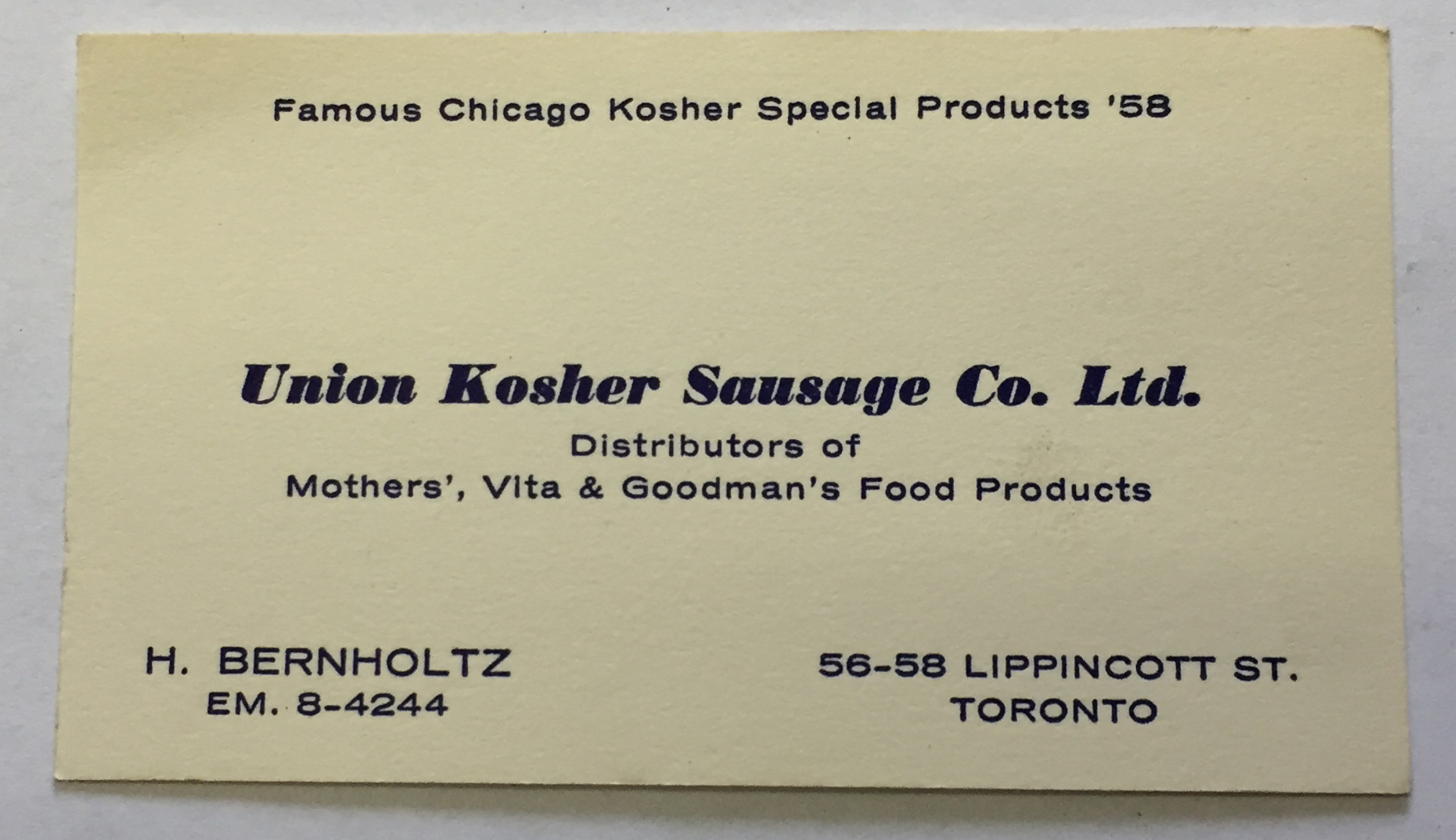 Union Kosher Business Card