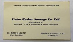 Union Kosher Business Card