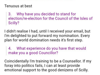 Wrong Steve Watt responds to Radio Scilly questions