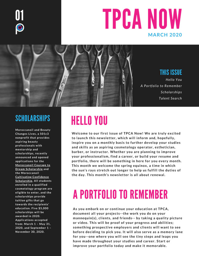 TPCA Newsletter Page 1