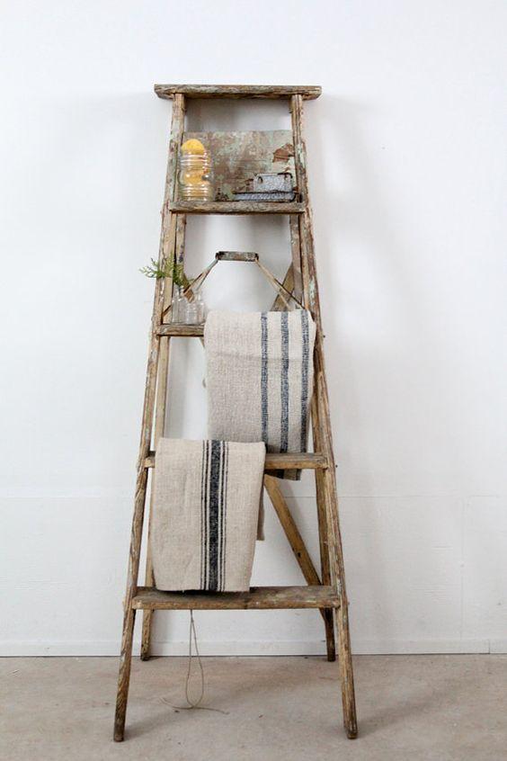 échelle vieux bois