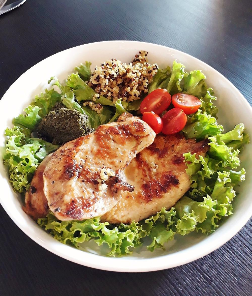 WOP Coffee & Bread's WOP Chicken (Grilled chicken, quinoa and salad)