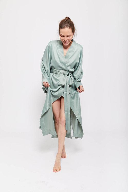 MARISOL - Meadow Green / 100% Mulberry Silk / Kimono Dress