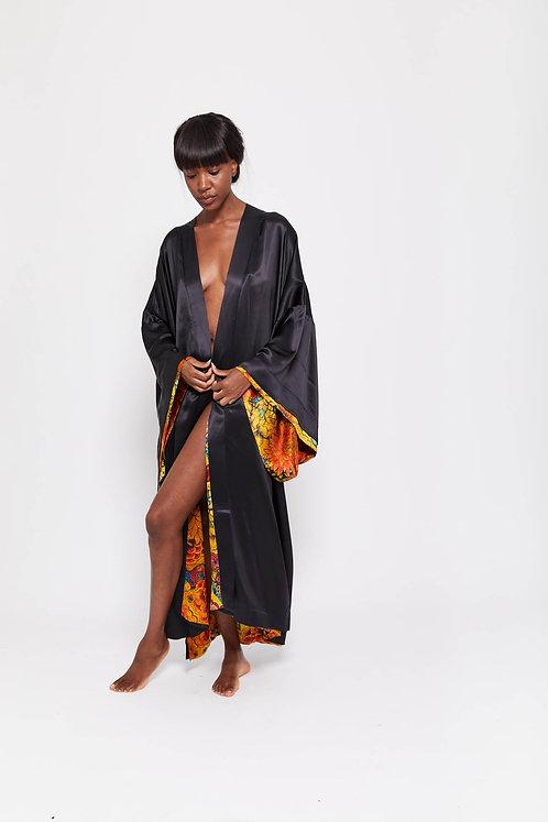 CHARLOTTE - Koi Pond / 100% Mulberry Silk  / Reversible Kimono Gown
