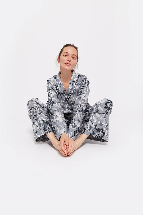 PORTO -Black Rose Dark / 100% Organic Cotton / Pyjama Set