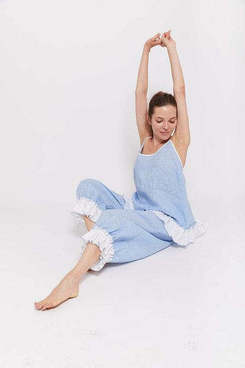BOHEM - Cross Hatch / 100% Fine Irish Linen / Beach Pyjama Set