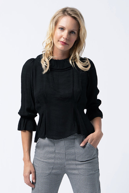 Ruffle neck blouse in black