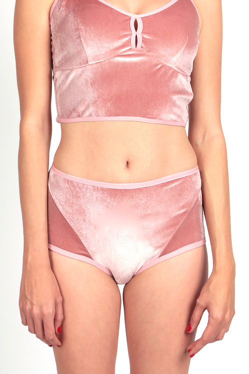 Velvet brief in pink