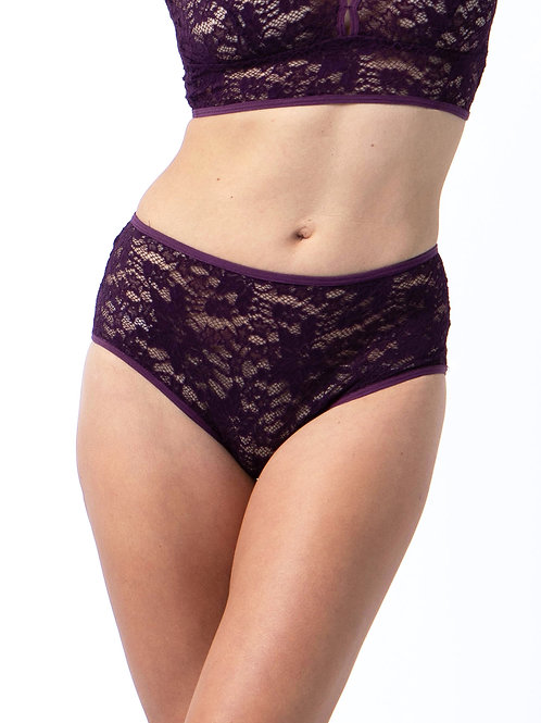 Lace brief in Wine