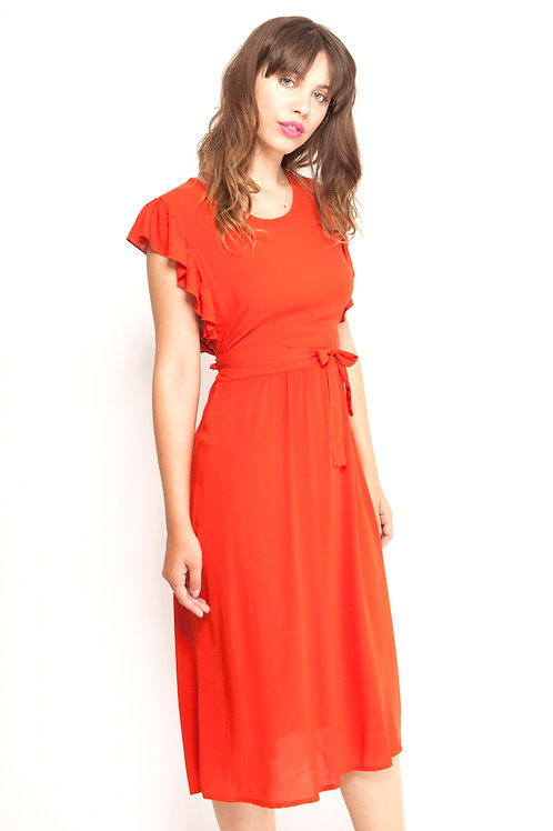 Pinafore dress in Tomato