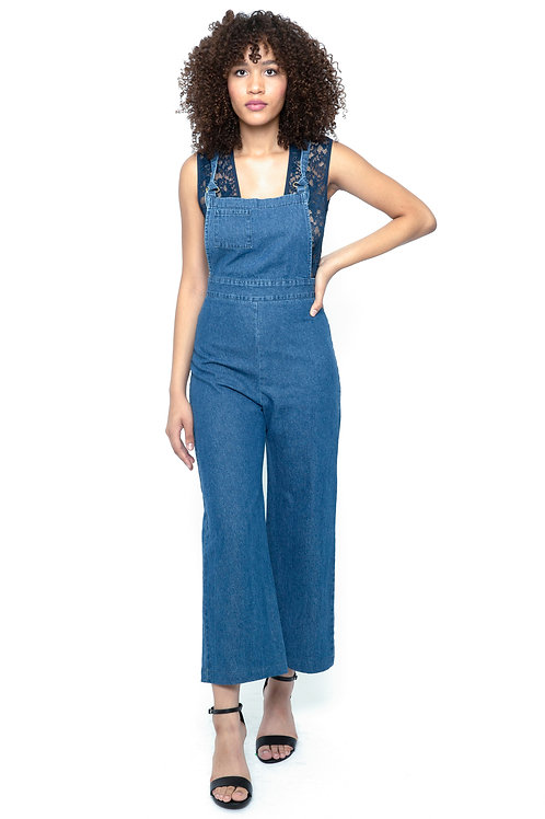 Cropped overalls in Denim