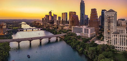Austin Skyline in the evening and blueho