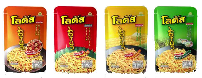 Lotus brand is one of the popular biscuit snacks in Thailand