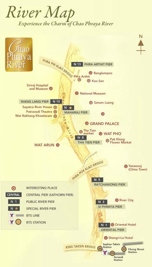 Chao Phraya Bangkok River Map