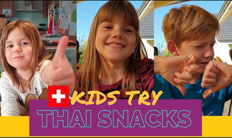 Swiss kids try Thai Snacks | Ratchata