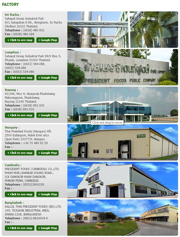 Mama factories in Thailand, Cambodia, Hungary and Bangladesh