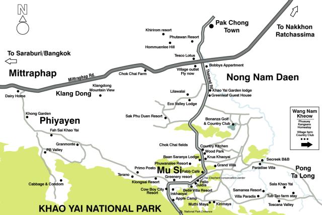 Khao Yai attractions map