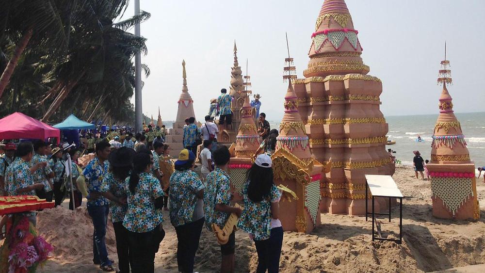 Building sand castles at Bangsaen