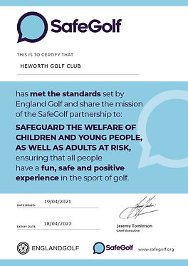 SafeGolf Certificate - HEWORTH GOLF CLUB