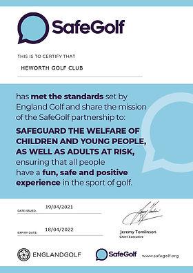 SafeGolf Certificate - HEWORTH GOLF CLUB