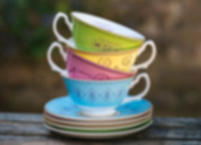 set of coloured English Bone China teacups