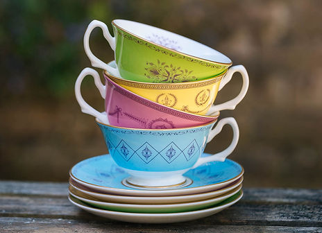 set of coloured English Bone China teacups