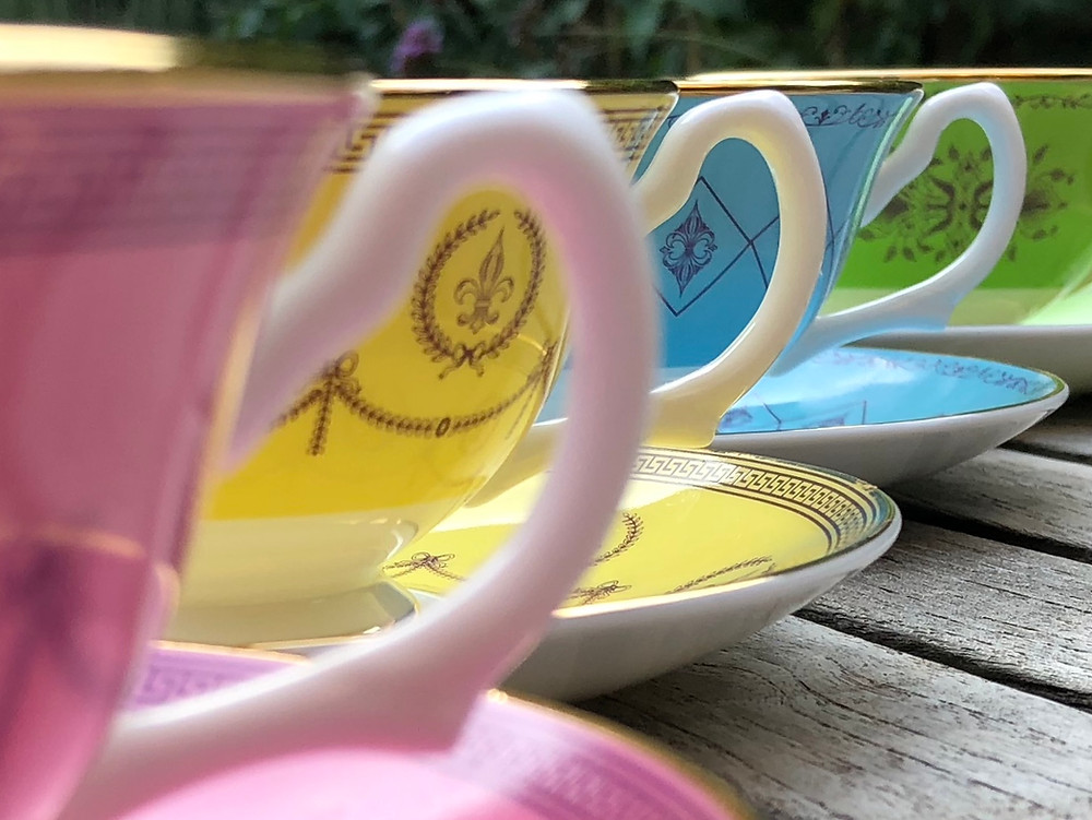 bone china tea cups bright colours, green, blue, yellow, pink, heritage, vintage inspired, gifts