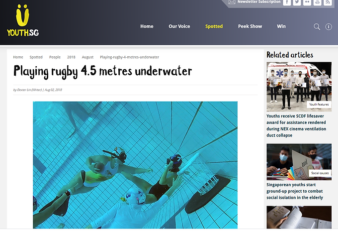 "Youth.SG ""Playing rugby 4.5 metres underwater"": Aug 2018"