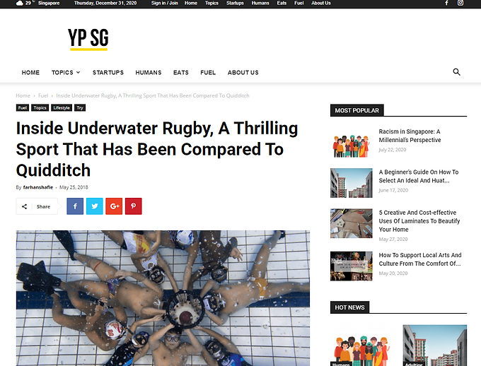 "YP.SG ""Inside Underwater Rugby, A Thrilling Sport That Has Been Compared To Quidditch"" : May, 2018"