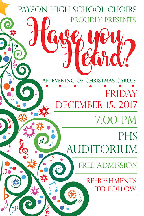 "Payson High ""Have You Heard?"" Choir Concert December 15, 2017-DVD"