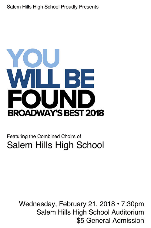 """Salem Hills """"You Will Be Found"""" February 21, 2018-DVD"""