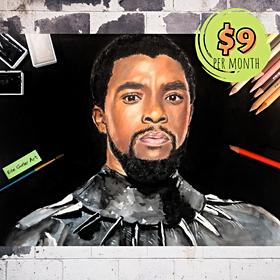 Mixed Media Chadwick Boseman Portrait