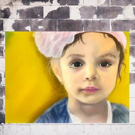 Toz Pastellerle Gerçekçi Kız Portresi