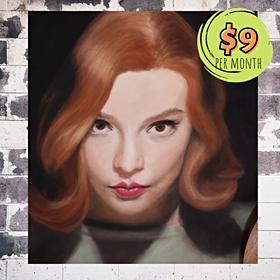 Beth Harmon Portrait with Pastels