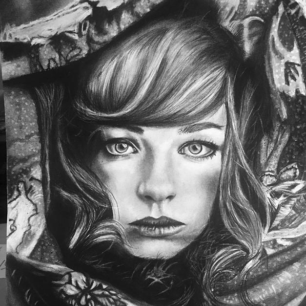 A Girl's Portrait with Charcoal and Graphite