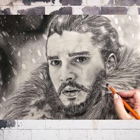 Karakalem Jon Snow Portresi