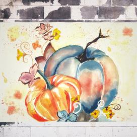 Sulu Boya ile Sonbahar Balkabağı Yapımı