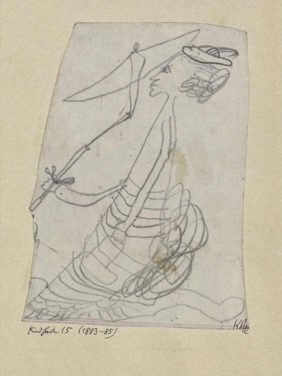 """Famous painter Paul Klee's Drawing at the age of 6 """"Woman with Parasol"""""""