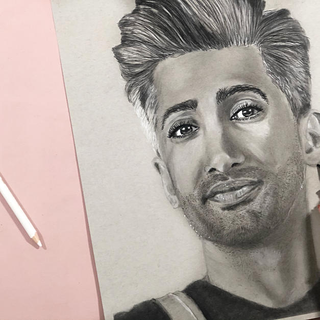 Tan France Portrait with black and white colored pencils