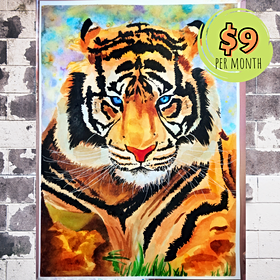 Realistic Tiger with Watercolor