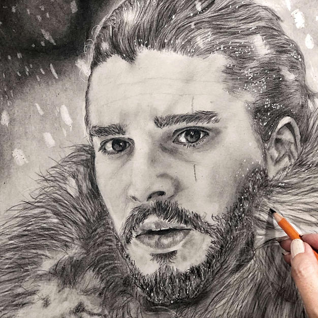 Jon Snow Portrait with Graphite and Charcoal