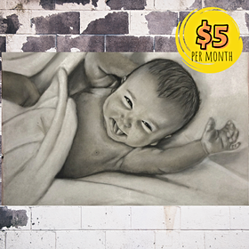 Smiling Baby with Charcoal, Graphite and Pastels